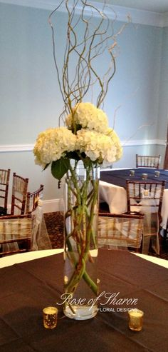 hydrangea & curly willow centerpiece.