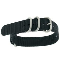 Watch Band Nylon One Piece Military Sport Black Stainless Buckle 18 millimeter | Pebble Watch Bands