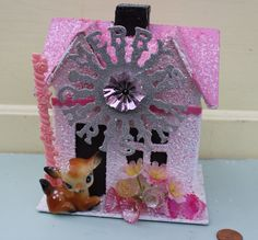 Vintage Style Putz Christmas House  - Pink with Deer and Merry Christmas