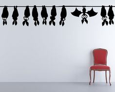 Bats Hanging Comical Vampire  Decal Sticker by VinylWallAdornments