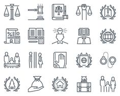 Law and justice icon set by howcolour on @creativemarket