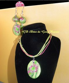 Earrings and necklace, green and pink with lillies  https://www.facebook.com/#!/pages/GD-iD%C3%A9es-de-Geny-Bijoux-et-sur-gdideesdegenycanalblogcom/112320158883289