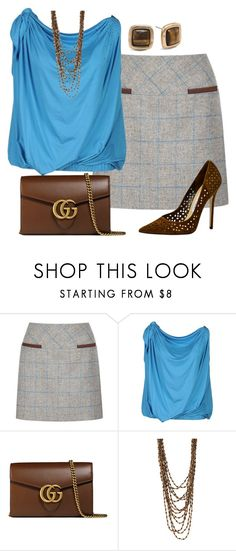 """""""Sin título #1604"""" by marisol-menahem ❤ liked on Polyvore featuring DUBARRY, Blugirl, Jimmy Choo, Gucci, Forever 21 and Chico's"""