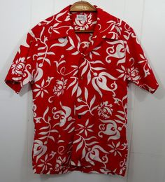 a7915daf Get on your Hawaiian Shirt and let's party! Vintage Kay O'Kauai Bright Red