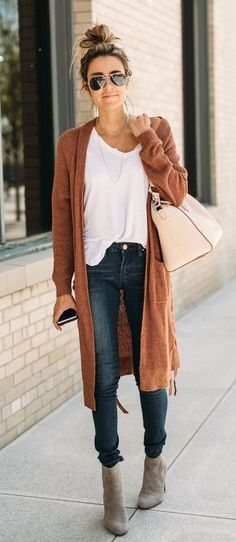 #winter #outfits brown waterfall cardigan, white inner shirt, and blue denim fitted jeans