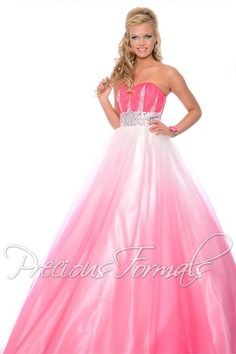 Lovely prom dress in chiffon and illusion ombre, from Precious Formals.