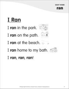 I Ran (Sight Word 'ran'): Super Sight Words Poem