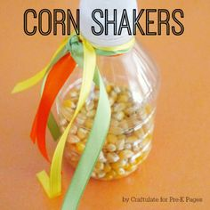 corn shakers music activity. Fill with Christmas things to shake for our 5 senses unit