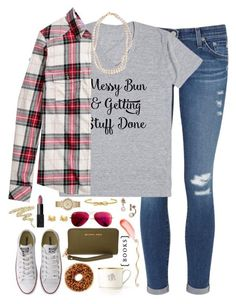 """messy bun and getting stuff done"" by kaley-ii ❤ liked on Polyvore featuring AG Adriano Goldschmied, H&M, Converse, Kate Spade, STELLA McCARTNEY, Pickard, Michael Kors, Urban Decay, NARS Cosmetics and MICHAEL Michael Kors"