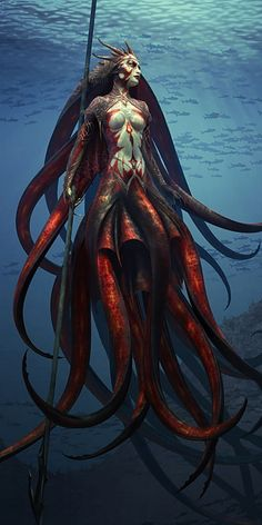 A mermalion of a different kind.  The fish-like lower extremities are gone, and are replaced with tentacles.