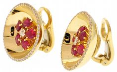 J.S. Fearnley - ALETTO BROTHERS Concave Ruby and Diamond Earrings