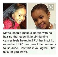 I think this is an amazing idea and this needs to happen. The little girls fighting cancer are ten times as beautiful as Barbie, and little boys fighting cancer are ten times as handsome as Ken Cute Stories, Sweet Stories, Happy Stories, Reality Check, Gi Joe, How To Feel Beautiful, Beautiful Things, Beautiful Beautiful, Beautiful Stories