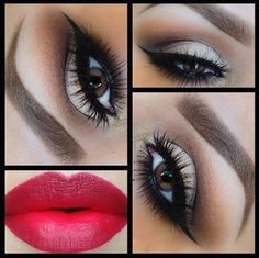 beautiful makeup - #eyemakeup #sultryeyes #boldredlips #archedbrows #cateye #wingedliner - Love beauty? Go to bellashoot.com for beauty inspiration!