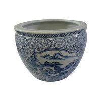 """Our unique Chinese 8"""" or 12 """"Diameter porcelain planters are beautifully patterned with blue floral line drawing and flower panels that make an outstanding statement in any room. These planters are the perfect accent for home or garden. Water tight and hand painted with floral and arabesque in rich blue cobalt glaze http://www.orientalfurnishings.com/asian-floral-blue-and-white-porcelain-fishbowl-oriental-furnishings/"""