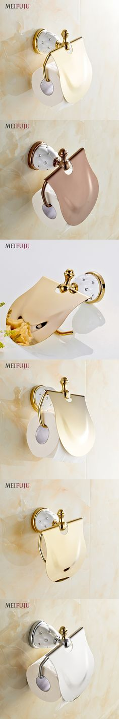 MEIFUJU Gold Toilet Paper Holder with diamond Roll Holder Tissue Holder Solid Brass Bathroom Accessories Products Free Shipping