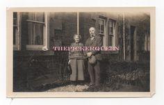 Antique Vintage Photograph~Elderly Couple~Older~Man Woman~Outside~House~Garden
