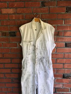 71f1cc977145 Vtg White Coveralls Mechanic Jumpsuit Workwear Herringbone Distressed Sz S M