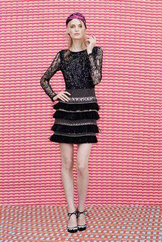 Matthew Williamson | Resort 2015 | 30 Black embellished long sleeve top and fringed mini skirt
