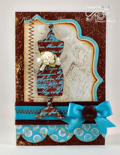 Vintage dressform card with a touch of WOW!