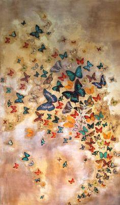 "Saatchi Art Artist Lily Greenwood; Multi-colored Butterfly Painting, ""Butterflies on Warm Ochre"" #art"