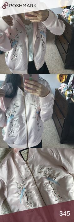 vintage // dusty pink bomber silky soft bomber jacket with embroidered cherry blossoms and blue mockingbirds. extremely lightweight and comfortable. never been worn and in like-new condition. to put it simply -- just gosh darn beautiful. 😤 not from nasty gal & no trades. Nasty Gal Jackets & Coats