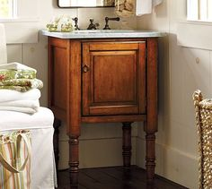 perfect for half bath. A vanity that is as beautiful as a piece of furniture.  Great for baths with limited space.