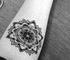 mandala tattoo woman arm by James Nidecker