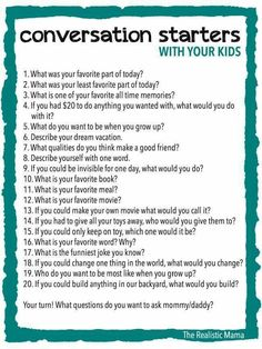 Ways to Make Family Dinners Awesome - The Realistic Mama 20 Conversation Starters for Kids - FREE PRINTABLE (print and use at family meals or bedtime!) Conversation Starters for Kids - FREE PRINTABLE (print and use at family meals or bedtime! Parenting Advice, Kids And Parenting, Gentle Parenting, Parenting Quotes, Peaceful Parenting, Parenting Classes, Parenting Styles, Foster Parenting, Fille Au Pair
