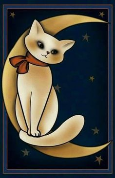 Pretty Kitty: Example of 18 rock painting pictures. Pretty Kitty loves you to the moon and back! I Love Cats, Crazy Cats, Cool Cats, Cat Drawing, Painting & Drawing, Rock Painting, Art Africain, Rock Art, Cat Art
