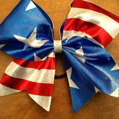 """3"""" Cheer Bow - American Flag Red White and Blue"""