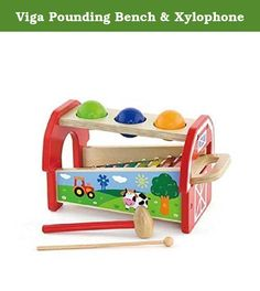 Viga Pounding Bench & Xylophone. This wooden playset by Viga is a hammer ball and xylophone in one great toy. Young ones can hammer the balls through the holes, the balls then drop down onto the xylophone making a tune that children will love. The balls will shoot out onto the floor, ready to start again. The colourful xylophone can be removed from the set so they can make some musical tunes from the their own. With a colourful and fun farm design this toy will keep young children engaged...