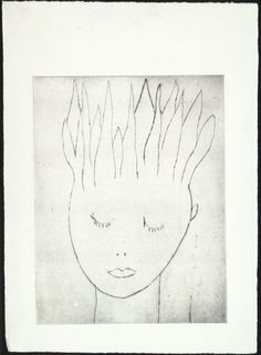 * Louise Bourgeois. Head on Fire, state I. 2000 Drypoint