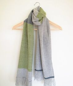 Merino cashmere scarf handwoven in green heather grey teal