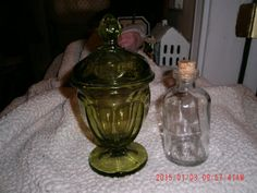 Set Of Two Vintage Apothecary Jars Candy Glass by thebedpost02