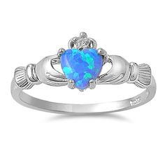 Irish Celtic Claddagh CLADDAUGH Ring Handcrafted 925 Sterling Silver w/ Blue Opal stone and Clear CZ     The Irish Claddagh symbolizes Love, Loyalty and Friendship   The Claddagh's distinctive design