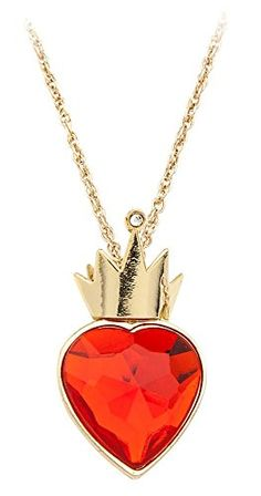 Disney Descendants Necklace - Red Heart and Gold Crown on Gold Chain