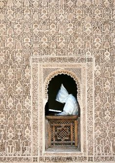 Marrakech Photos at Frommer's - Scholar reading at Ali Ben Youssef Medersa, Marrakesh Design Marocain, Style Marocain, Islamic Architecture, Art And Architecture, Riad Marrakech, Marrakech Travel, Morocco Travel, Patio Interior, Moroccan Style