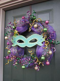 Mardi Gras Wreath.  Gorgeous!