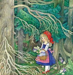 Illustrationen des Märchens Rotkäppchen.