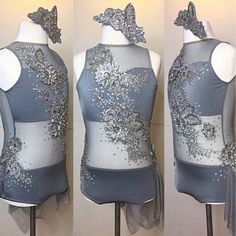 Stunning steel grey one piece custom leotard with side skirt. Swarovski Crystals really make this shine! AXS
