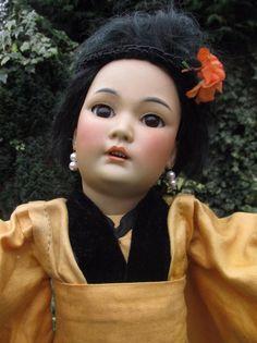 Stunning RARE Antique Simon & Halbig 1329 Oriental Bisque Head Doll 16  Germany
