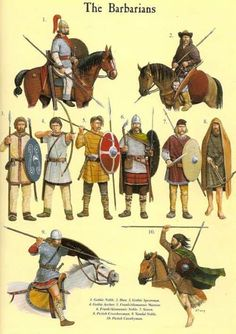 Late Roman Empire: Illistration of Barbarian- Barbaros . Roman History, European History, Ancient Rome, Ancient History, Rome Antique, Germanic Tribes, Celtic Warriors, Empire Romain, Armadura Medieval