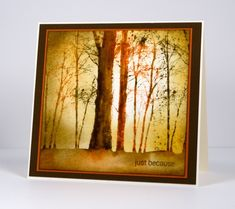 I have another card made with the beautiful new 'snowy grove' stamp. I filmed myself painting the trees on periscope so if you are quick you can catch that before it disappears forever. I intend to...