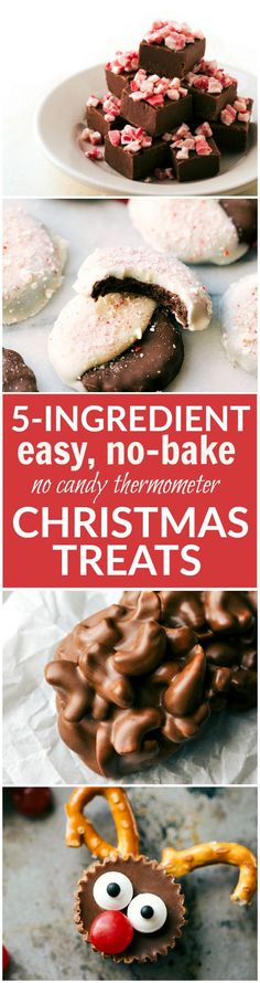 Four different easy, quick, and fool-proof Christmas treats that the kids can help with! Perfect for gift-giving and enjoying with the family. Peppermint bark cookies, toffee cashew clusters, microwave fudge, and rudolph bites! Recipes via chelseasmessyapron.com