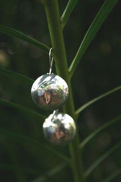 Items similar to Circular, domed sterling silver earrings on Etsy Sterling Silver Earrings, Christmas Bulbs, Studio, Holiday Decor, Creative, Etsy, Christmas Light Bulbs, Studios