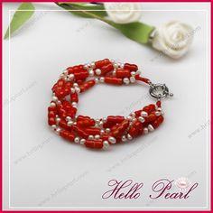 pearl red coral bracelet