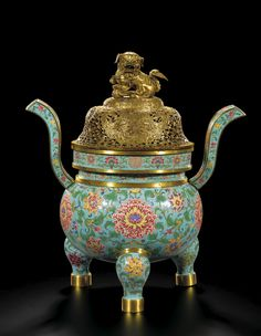 A SUPERB MASSIVE TURQUOISE BEIJING ENAMEL CENSER AND COVER<br><P>MARK AND PERIOD OF YONGZHENG</P> | Lot | Sotheby's