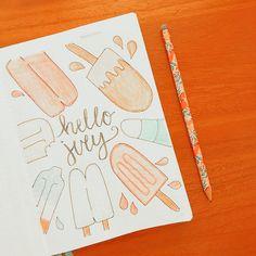 Bullet Journal Inspo, Bullet Journal Spread, Bullet Journal Ideas Pages, Orange Aesthetic, Summer Aesthetic, Simple Art, Easy Art, School Stationery, Creative Journal