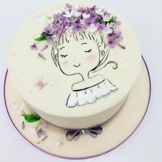 Lilac girl - Cake by Olga Danilova Pretty Cakes, Cute Cakes, Beautiful Cakes, Amazing Cakes, Buttercream Cake, Fondant Cakes, Cupcake Cakes, Fondant Girl, Hand Painted Cakes