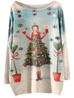 Christmas Tree, Christmas Girl, Cute Multicolor Batwing Sleeve Christmas Girl Print Knitwear